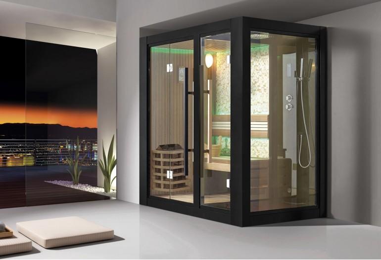 Sauna seca + sauna húmeda con ducha AU-001B